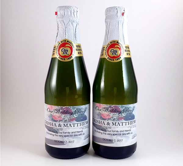 sparkling cider mini bottles wedding server set